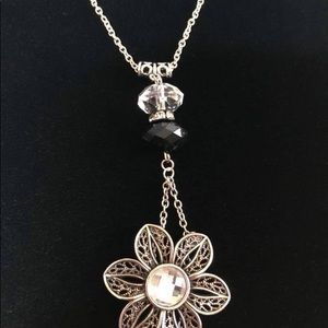 Handmade flower necklace with matching earrings